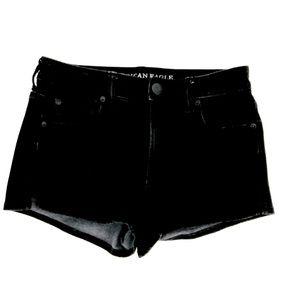 American Eagle Hi Rise Shortie Black Jean Shorts 4